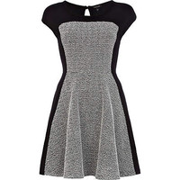Black boucle panel skater dress  - skater dresses - dresses - women