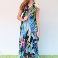 Electric Print Backless Halter Maxi Dress