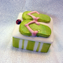 Ceramic Keepsake Box  Flip Flop Lime Green Pink