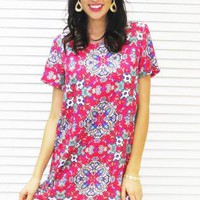 Dress Shift Mini in Floral Diamond Print