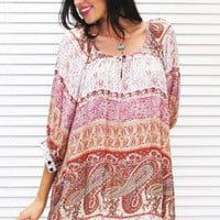 Dress Tunic Boho Terracotta Paisley Print