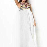 Embroidered Bodice Maxi Dress