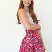 Skirt Red Geo Print