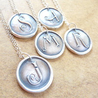 Wax seal initial CHARM ONLY monogram letter pendant hand crafted from recycled fine silver in any letter of the alphabet