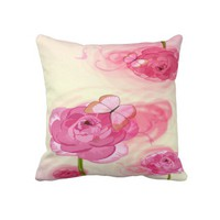 Pink Roses and Butterflies Decorative Throw Pillow from Zazzle.com