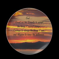 Serenity Prayer Marmalade Sunset Plate from Zazzle.com