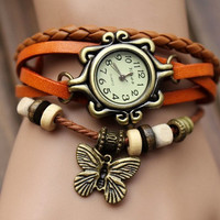 Lady Watch Vintage Style Wrist Watch Real Leather Bracelet, Handmade Women's Watch, Everyday Bracelet  PB0161