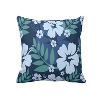"Blue and Floral Decorative Throw Pillow 20"" x 20"" from Zazzle.com"