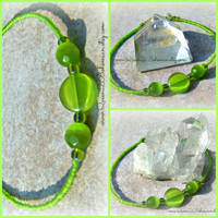 Green Cateye Anklet,Beaded anklet, Beach Anklet,Direct Checkout, Bridesmaids Gift
