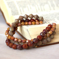 Beaded Bracelet - Multiple Strands - Earth Tone