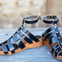Wedge/clog gladiator sandal - handmade in black 6 7 8 9 10
