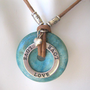 Love Heart Sterling Turquoise Circle Necklace Adjustable Leather Cord | wildcatleatherco - Jewelry on ArtFire