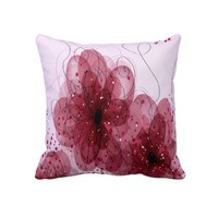 Pink Flowers Floral Decorative Throw Pillow from Zazzle.com