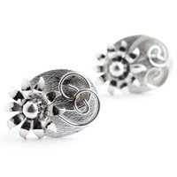 Vintage Flower Clip On Earrings - Silver Tone Signed Coro Floral Costume Jewelry / Three Dimensional Flowers