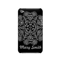 Personalizable Black and White Floral ipod case Ipod Touch Cases from inspirationzstore