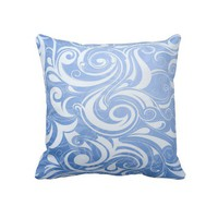 Blue and White Swirl Decorative Throw Pillow from Zazzle.com