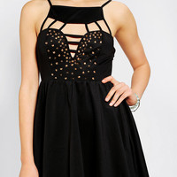 Urban Outfitters - Reverse Studded Cutout Skater Dress