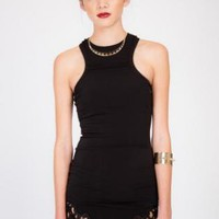 Little Black Dress with Bottom Thigh Cutouts