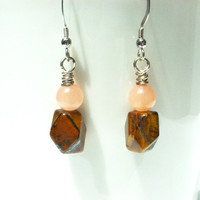 Tiger eye earrings, pink aventurine earrings, tigers eye jewelry
