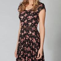 FULL TILT Floral Twist Back Skater Dress