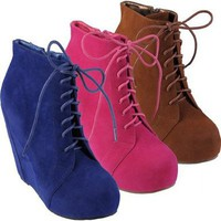 Brinley Co Womens Lace-up Platform Wedge Booties:Amazon:Shoes