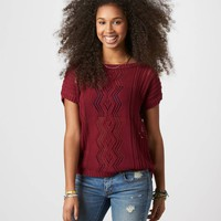 AE Zip Back Open Stitch Sweater | American Eagle Outfitters