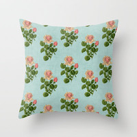 vintage rose - blue Throw Pillow by her art