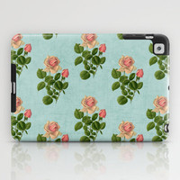 vintage rose - blue iPad Case by her art
