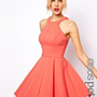 ASOS PETITE Exclusive Skater Dress With Popper Straps And Cut Away Detail at asos.com