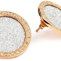 REBECCA &quot;Half Moon&quot; Rose Gold Over Bronze Shimmering Stud Earrings