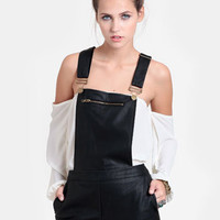 Motorway Faux Leather Overalls - $52.00 : ThreadSence, Women's Indie & Bohemian Clothing, Dresses, & Accessories