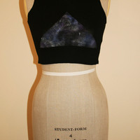 Galaxy Triangle, Tight Cropped Black Vest Ladies Summer Crop Top Festival Fashion