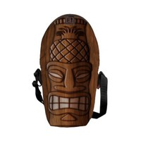 Wooden Tiki Mask Messenger Bag from Zazzle.com