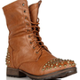 Tan Lace Up Studded Combat Boots