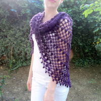 Spring shawl, Purple shawl,  wool shawl, triangular shawl, handmade shawl. Ready to shipping