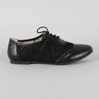 Allen-2 Mesh Lace Up Round Toe Oxford Flat