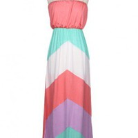 Pink Multi Chevron Maxi Dress- Plus Size