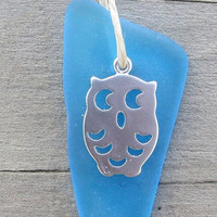 Aqua Sea Glass Beach Owl Necklace