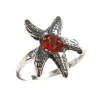 Red Amber and Sterling Silver Sea Starfish Ring:Amazon:Jewelry