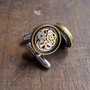 "Mechanical Cufflinks ""Model Twenty-Eight"" Mancessories Soldered Clockwork Watch Gear Cuff Links Silver Tone Industrial A Mechanical Mind"