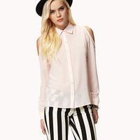 Faux Pearl Cutout Shirt
