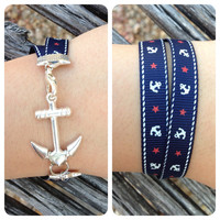 Silver Anchor Ribbon Bracelet