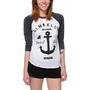 Glamour Kills Girls Brooklyn Anchor Club Charcoal Baseball Tee Shirt