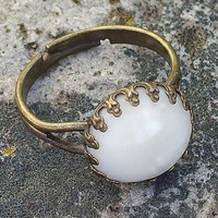 White Bone Cabochon Elegant Crown Antiqued Bronze Ring -  Adjustable