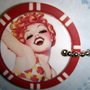 Dazzling &amp; Playful Redhead In The Water -- Poker Chip Key Chain / Purse Charm --  2 Views --