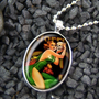 Horror Queen Living Dead Pin Up Girl  Halloween Silver Oval Pendant Necklace 232-SSO