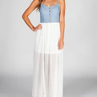 FIRE Denim Chiffon Maxi Dress