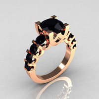 Modern Vintage 14K Rose Gold 20 Carat Black Diamond by artmasters