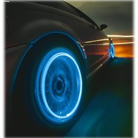 Neon Blue Strobe LED Light Tire Valve Caps
