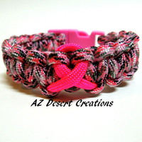 Breast Cancer Awareness Survival Bracelet in Pink Camo Parachute Cord